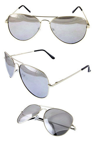 Silver Mirrored Jet Setter Aviator Shades