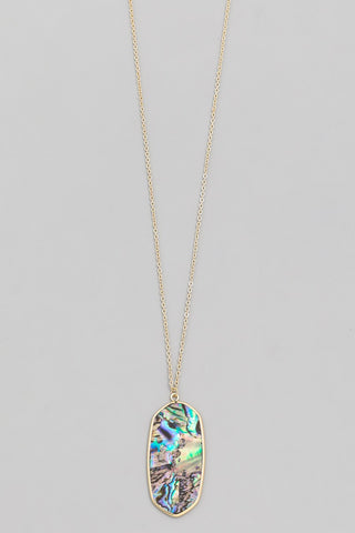 Multi Mother of Pearl Oval Pendant Necklace