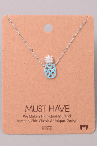 Silver & Blue Pineapple Necklace