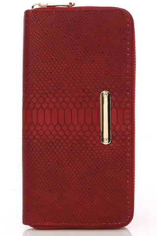 Red Subtle Snake Zip Wallet