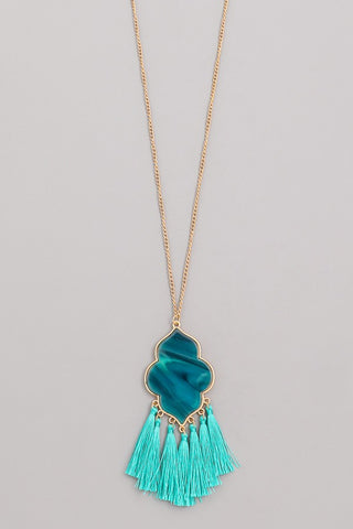 Teal Clover & Tassel Necklace