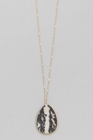 Black White Teardrop Stone Pendant Necklace