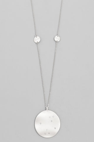 Silver Sparkle Disk Necklace