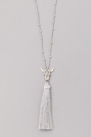 Gray Bull & Tassel Pendant Necklace