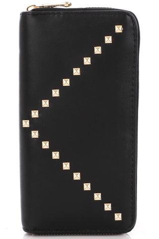 Black Gold V Stud Zip Wallet