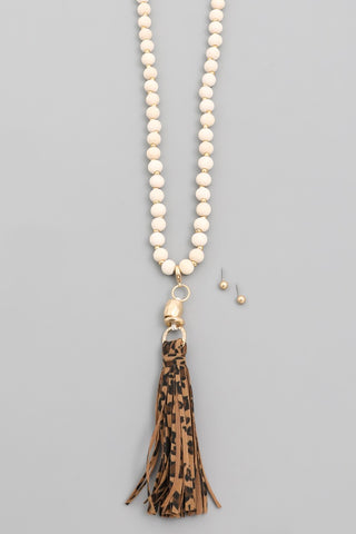 Leopard Print Tassel Wood Bead Necklace