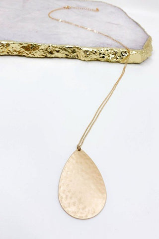 Hammered Gold Teardrop Pendant Necklace