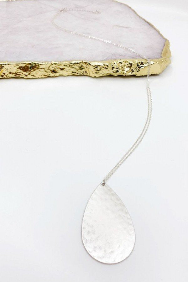Hammered Silver Teardrop Pendant Necklace