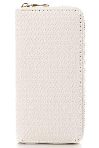 White Mini Basket Weave Zip Wallet