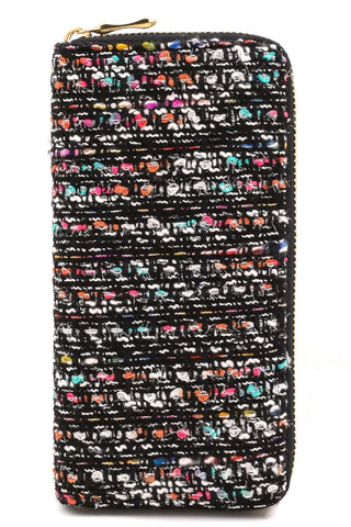 Multi Color Tweed Zip Wallet