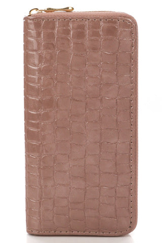 Pink Faux Alli Textured  Zip Wallet