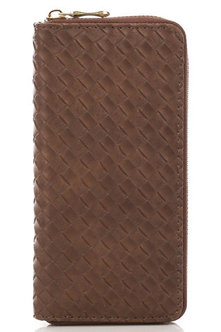 Brown Basket Weave Zip Wallet
