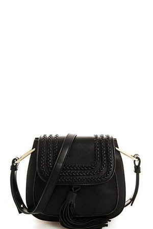 Black Braided Tassel Crossbody Bag