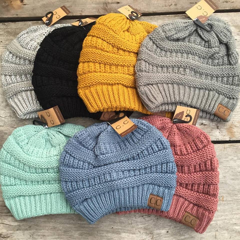 Slouchy Knit CC Beanie - Solid Colors