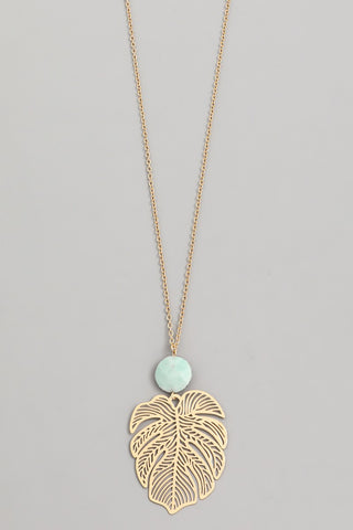 Gold Tropical Leaf & Stone Pendant Necklace