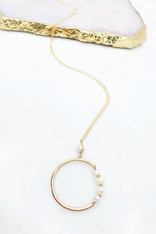 Gold & Pearl Ring Pendant Necklace