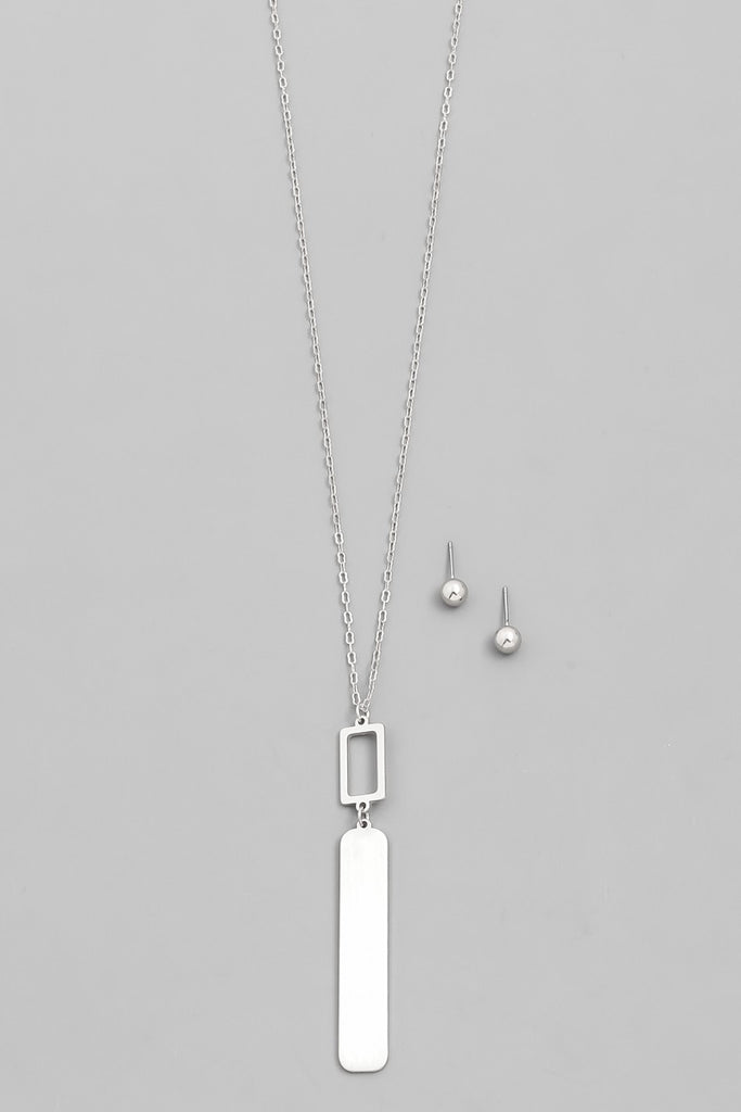 Matte Silver Bar Drop Necklace
