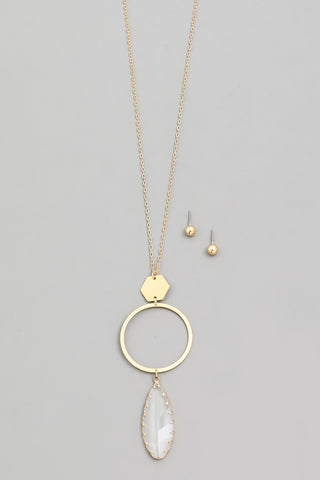 Gold Circle Clear Drop Pendant Necklace