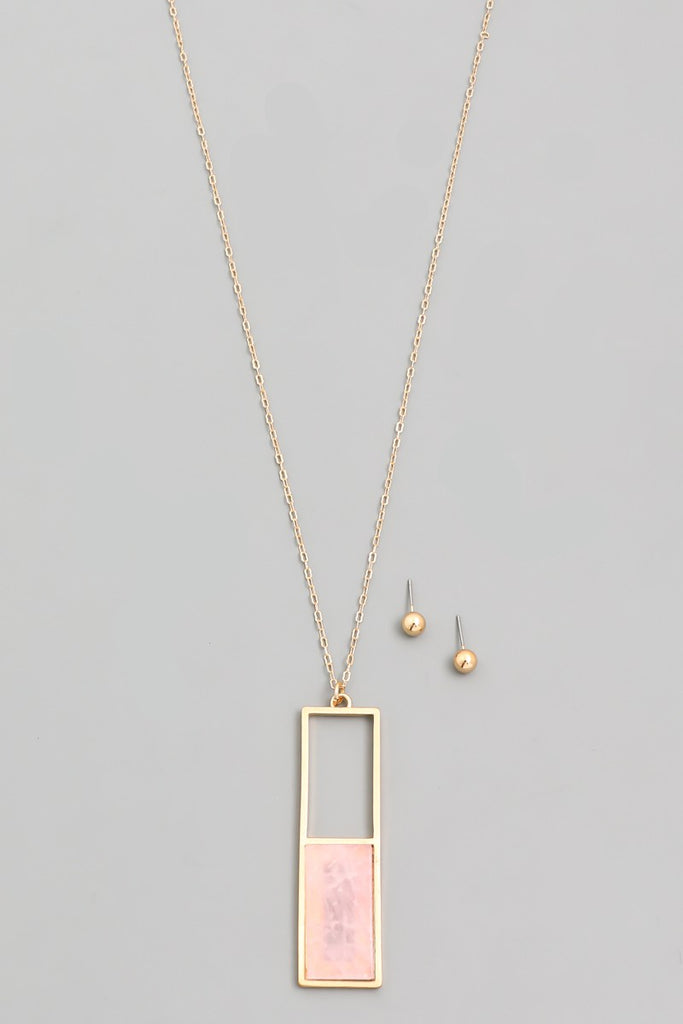 Rectangle Pink Stone Pendant Necklace