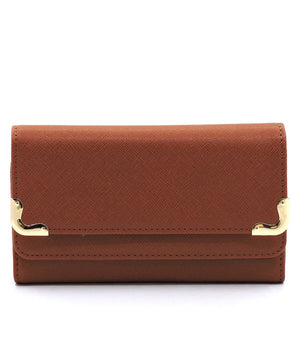 Brown Tri Fold Cluth Wallet