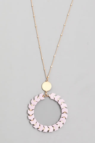 Lavender Chevron Circle Pendant Necklace