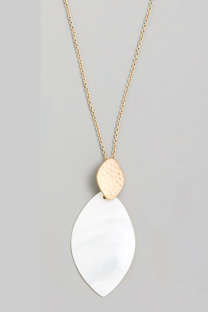 Oval Ivory Resin Pendant Necklace