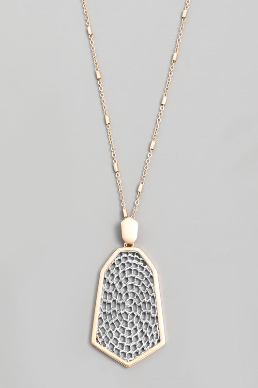 Gold Silver Geo Net Pendant Necklace