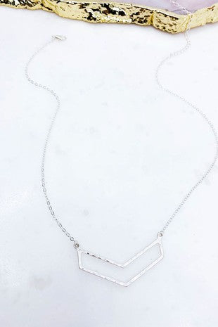 Hammered Silver Cut Out Chevron Necklace