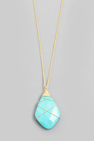 Turquoise Gold Wrap Pendant Necklace