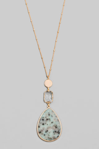 Tiered Teardrop Stone Pendant Necklace