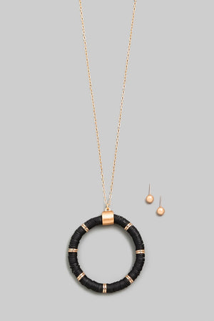 Black Circle Disc Beaded Pendant Necklace