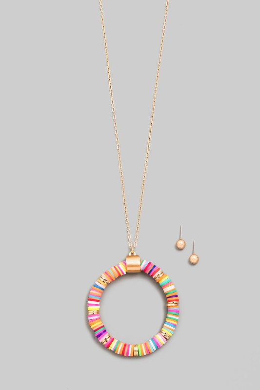Multi Color Circle Disc Beaded Pendant Necklace