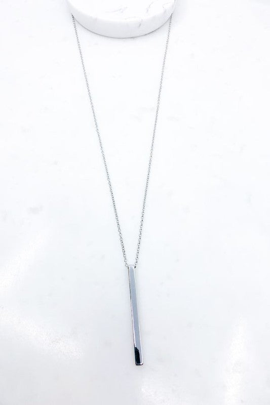 Silver Metal Cylinder Drop Necklace