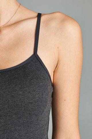 Charcoal Basic Cotton Long Adjustable Spaghetti Strap Cami Tank