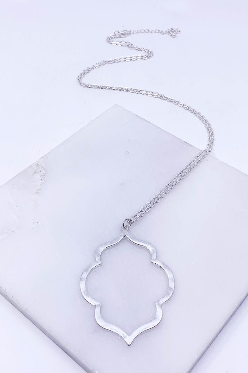 Brushed Silver Moroccan Pendant Necklace