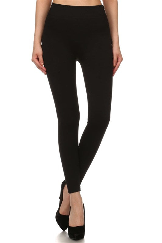 Solid Fleece Lined Leggings - 2 Colors