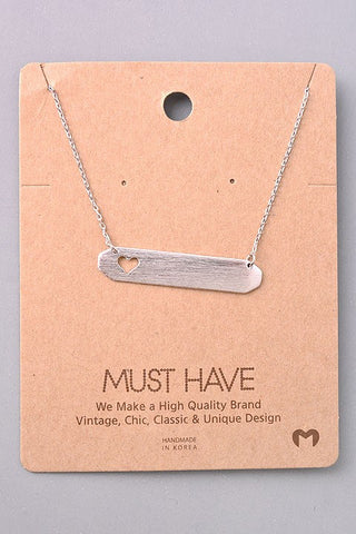 Simple Bar Heart Necklace