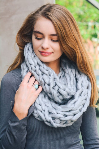 Light Gray Chunky Knit Infinity Scarf