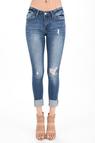 KanCan Distressed Cuffed Skinny Jeans