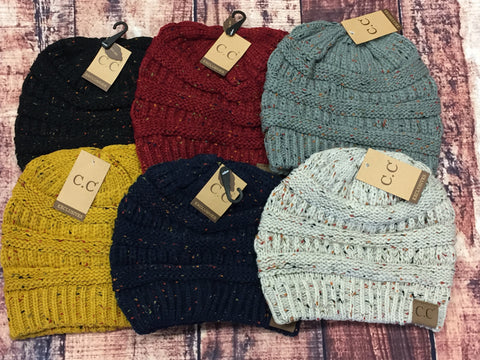 Slouchy Knit CC Beanie - Speckled