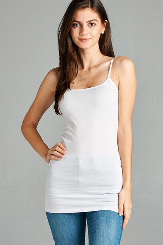 White Basic Cotton Long Adjustable Spaghetti Strap Cami Tank