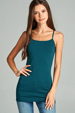 Dark Teal Basic Cotton Long Adjustable Spaghetti Strap Cami Tank