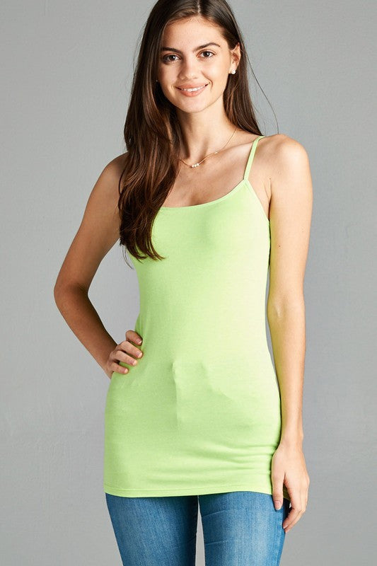 Neon Green Basic Cotton Long Adjustable Spaghetti Strap Cami Tank