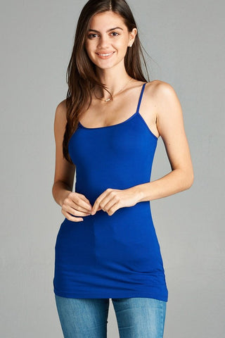 Royal Blue Basic Cotton Long Adjustable Spaghetti Strap Cami Tank