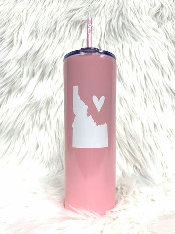 Idaho Love Tall Tumbler-Light Pink/Wt
