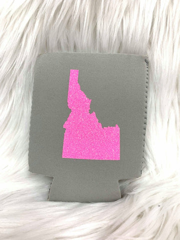 Light Gray & Pink Glitter Idaho Can Cooler