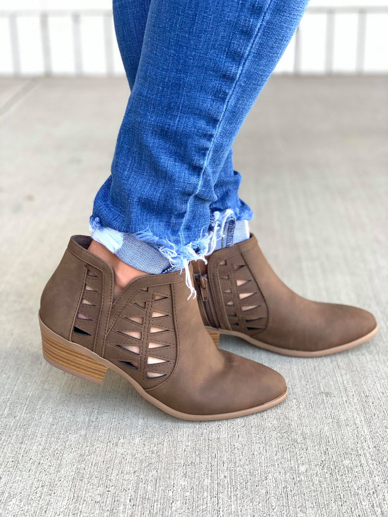 Take A Chance Brown Cutout Ankle Booties