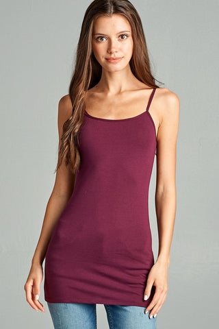 Plum Basic Cotton Long Adjustable Spaghetti Strap Cami Tank