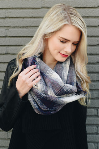 Purple & Tan Plaid Flannel Infinity Scarf