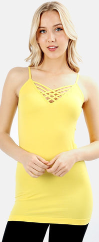 Yellow Low Strappy Seamless Tank - SM-3XL